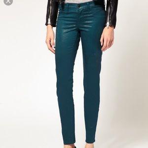 J Brand 901 Teal Coated Leggings Jeans